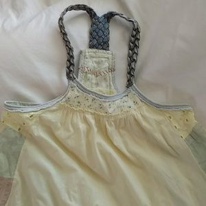 Free People Braided Strap Baby Doll Smock Top